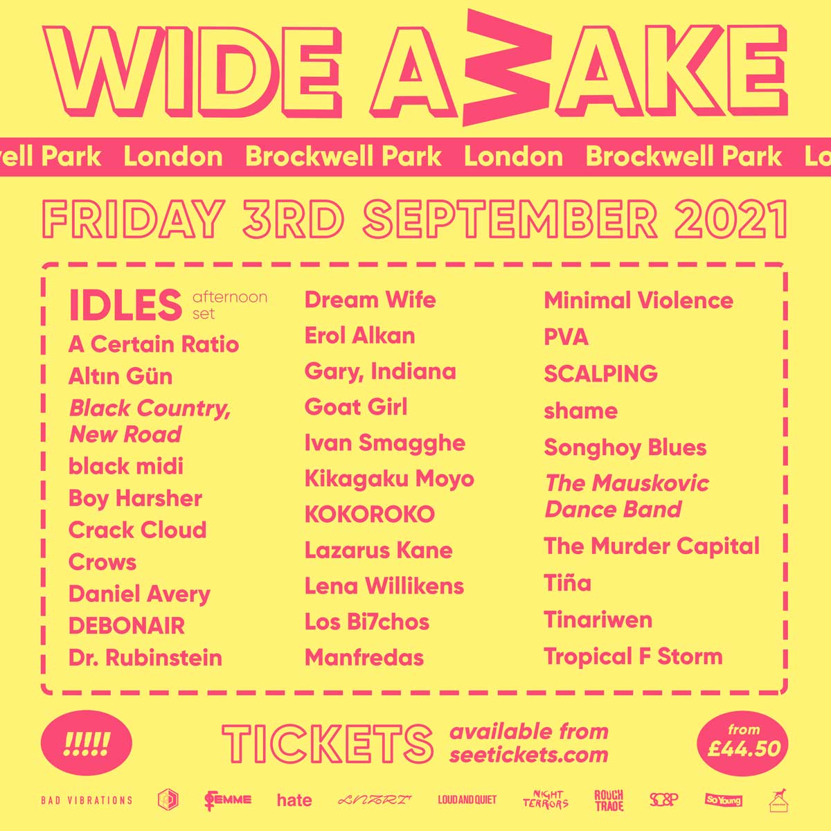 WIDE AWAKE FESTIVAL (Afternoon Show) tour poster